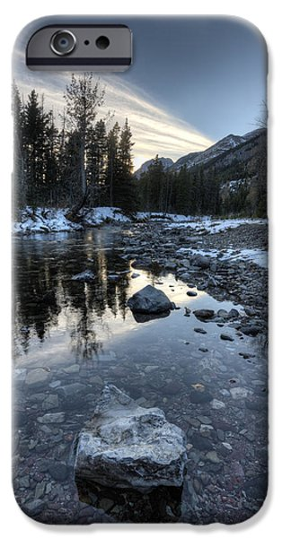 Wintertime iPhone Cases - Waterton river in Winter iPhone Case by Mark Duffy