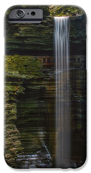 Cavern iPhone Cases - Watkins Glen Central Cascade iPhone Case by Mark Papke