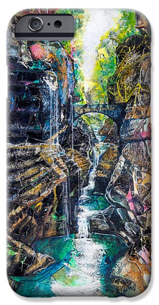 Pathway Mixed Media iPhone Cases - Watkins Glen Gorge iPhone Case by Patricia Allingham Carlson