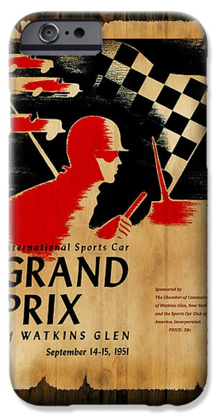 Watkins Glen iPhone Cases - Watkins Glen Grand Prix 1951 iPhone Case by Mark Rogan