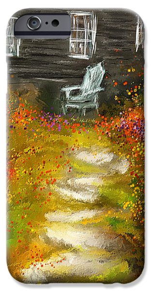 House Art iPhone Cases - Watson Farm - Old Farmhouse Painting iPhone Case by Lourry Legarde