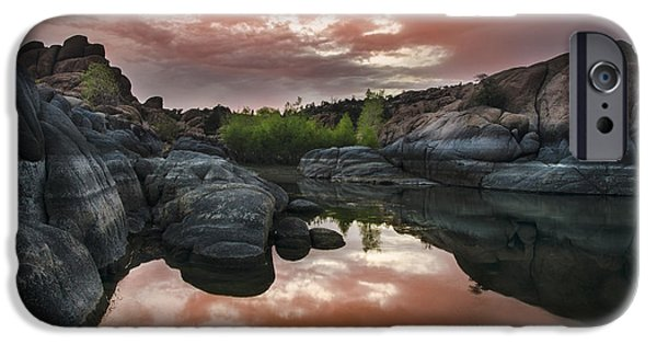 Prescott Arizona iPhone Cases - Watson Lake in Pink iPhone Case by Dave Dilli