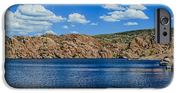 Watson Lake iPhone Cases - Watson Lake Panorama 1 iPhone Case by Alan Marlowe