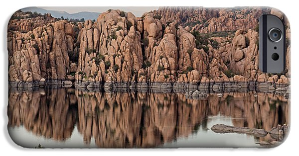 Prescott Arizona iPhone Cases - Watson Lake Tranquility iPhone Case by Angie Schutt