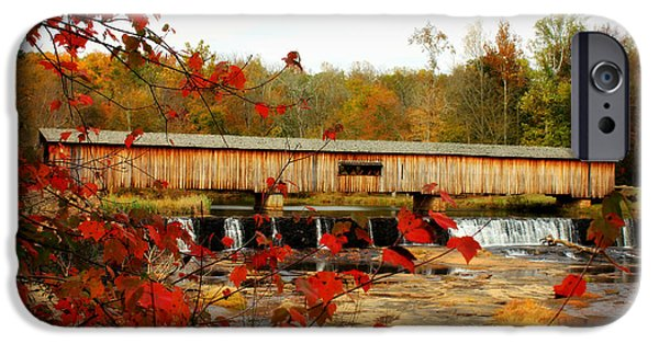 River View iPhone Cases - Watson Mill Covered Bridge Autumn iPhone Case by Reid Callaway
