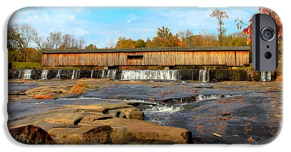 Covered Bridge iPhone Cases - Watson Mill Covered Bridge 7 iPhone Case by Reid Callaway