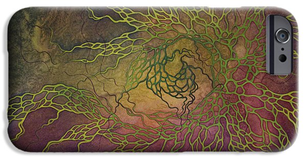 Cosmic Space Paintings iPhone Cases - Wave iPhone Case by Ellen Starr