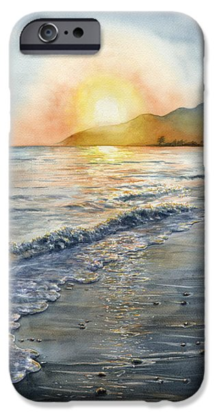 Ocean Sunset iPhone Cases - Wave iPhone Case by Karen Wright