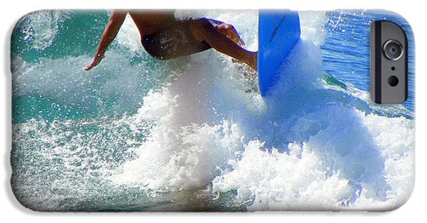 Male Athlete iPhone Cases - Wave Rider iPhone Case by Karen Wiles