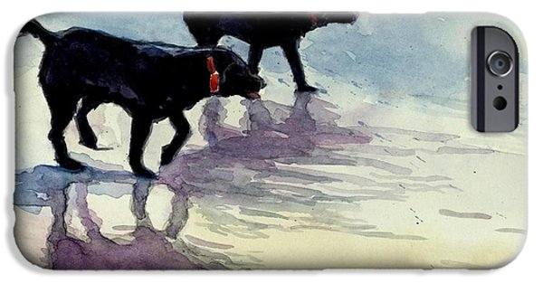 Black Dog iPhone Cases - Waverunners iPhone Case by Molly Poole