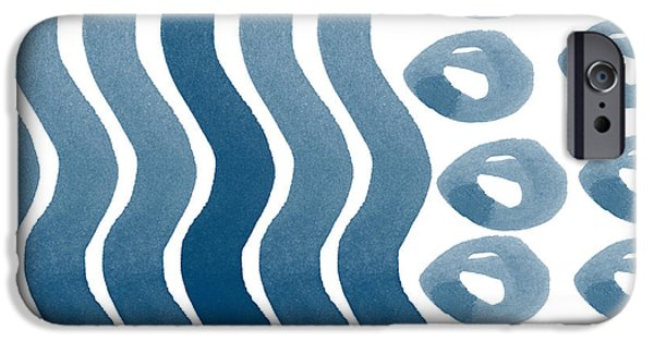 Watercolor Mixed Media iPhone Cases - Waves and Pebbles- Abstract watercolor in indigo and white iPhone Case by Linda Woods
