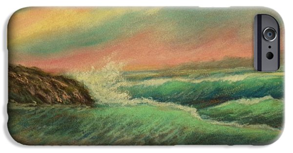Sign Pastels iPhone Cases - Waves ascending iPhone Case by Barbara Runyon Fregia