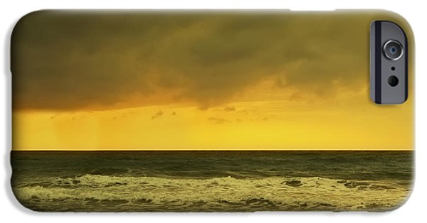Winter Storm iPhone Cases - Waves Breaking On A Wintery Beach At iPhone Case by Ken Welsh