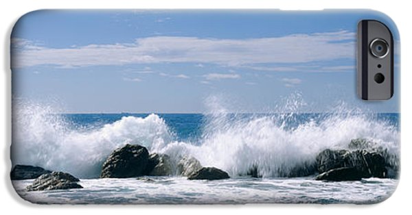Power iPhone Cases - Waves Breaking On Rocks, Chiavari iPhone Case by Panoramic Images