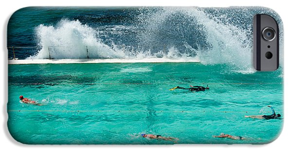 High Angle iPhone Cases - Waves Breaking Over Edge Of Pool iPhone Case by Panoramic Images