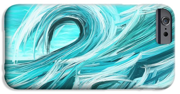 Blue Green Wave iPhone Cases - Waves Collision - Abstract Wave Paintings iPhone Case by Lourry Legarde