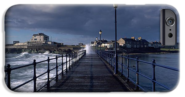 Connection iPhone Cases - Waves Crashing Against A Jetty, Amble iPhone Case by Panoramic Images