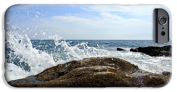 Maine iPhone Cases - Waves Crashing iPhone Case by Olivier Le Queinec