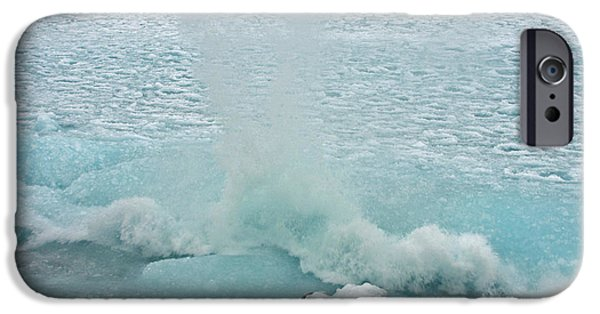 Fury iPhone Cases - Waves of Pancake Ice Crashing Ashore iPhone Case by James Peterson