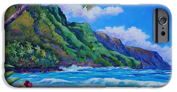 Mt iPhone Cases - Waves on Na Pali Shore iPhone Case by John Clark