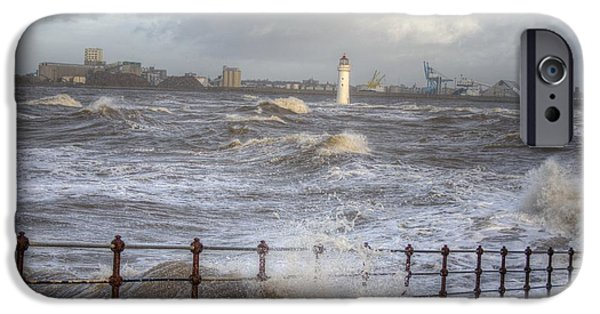 Turbulent Skies iPhone Cases - Waves On The Slipway iPhone Case by Karen Lawrence  SMPhotography