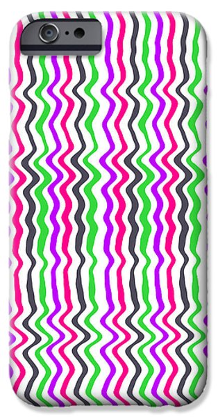 Green Geometry Art iPhone Cases - Wavy Stripe iPhone Case by Louisa Hereford