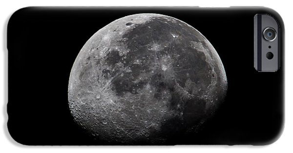 Moonlit Night Photographs iPhone Cases - Waxing Moon iPhone Case by Nila Newsom