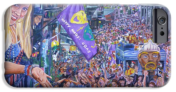 Mardi Gras Paintings iPhone Cases - Way Down Yonder In New Orleans iPhone Case by Bryan Bustard