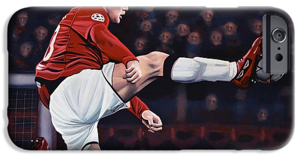 United Paintings iPhone Cases - Wayne Rooney iPhone Case by Paul  Meijering