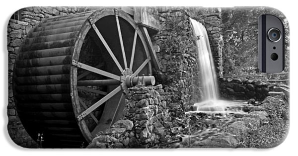 Sudbury Ma iPhone Cases - Wayside Inn Grist Mill Black and White iPhone Case by Toby McGuire