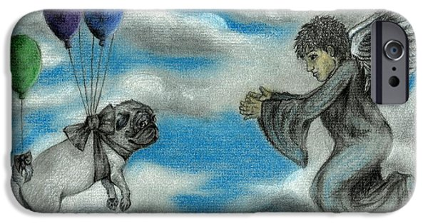 Angel Blues Pastels iPhone Cases - Wayward Pug iPhone Case by Melissa Sink