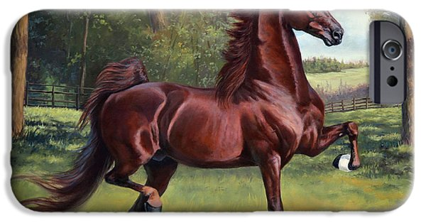 American Saddlebred Art iPhone Cases - WC Merchant Prince iPhone Case by Jeanne Newton Schoborg