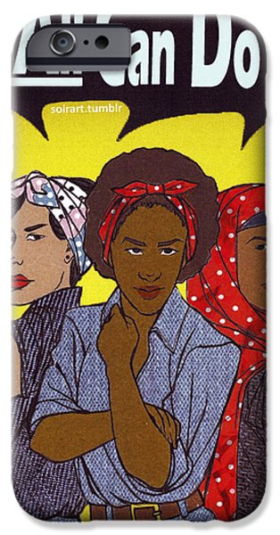 Woman Digital iPhone Cases - We ALL Can Do It iPhone Case by Valentin Brown