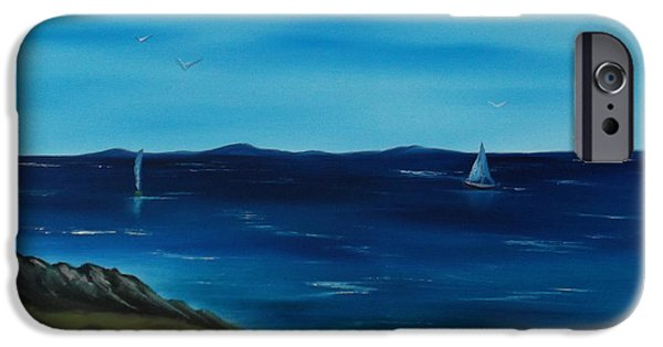 Bob Ross Paintings iPhone Cases - We are Sailing.. iPhone Case by Cynthia Adams
