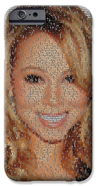 Mariah Carey iPhone Cases - We Belong Together Lyrics Mosaic iPhone Case by Paul Van Scott