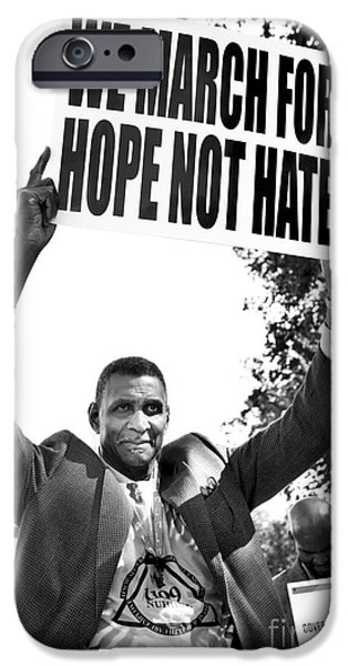 Black History iPhone Cases - We March For Hope Not Hate iPhone Case by Diane Diederich