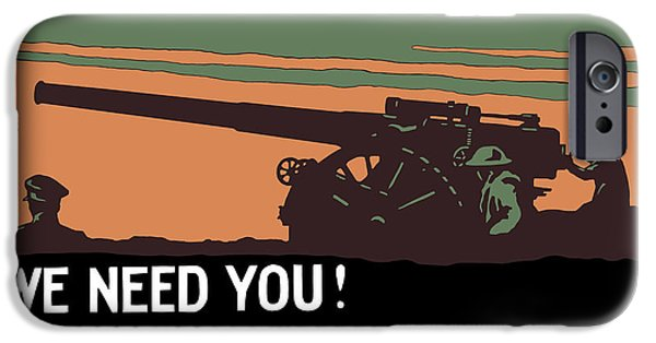 Artillery iPhone Cases - We Need You Coast Artillery Corps USA iPhone Case by War Is Hell Store