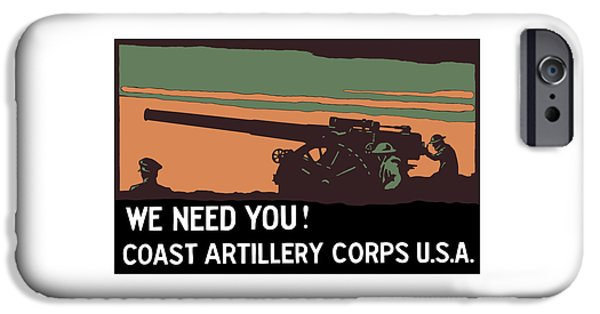 Ww1 iPhone Cases - We Need You - Coast Artillery Corps USA iPhone Case by War Is Hell Store