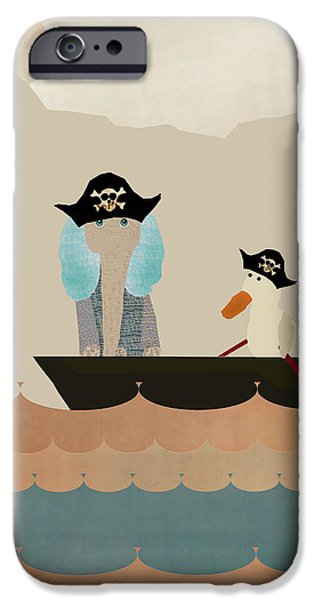 Pirate Ships Paintings iPhone Cases - We Play Pirates Too iPhone Case by Bri Buckley