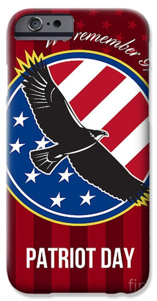 Patriots Day iPhone Cases - We Remember 911 Patriot Day Retro Poster iPhone Case by Aloysius Patrimonio