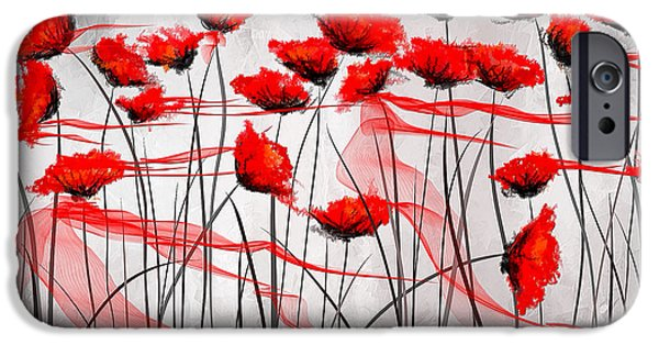 Red Abstract iPhone Cases - We Remember- Red Poppies Impressionist Painting iPhone Case by Lourry Legarde
