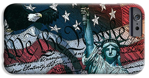 July 4th Digital Art iPhone Cases - We The People iPhone Case by Dancin Artworks