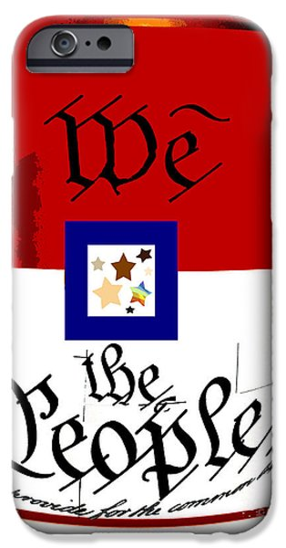 Old Glory Mixed Media iPhone Cases - We The People Pop Art Print iPhone Case by AdSpice Studios