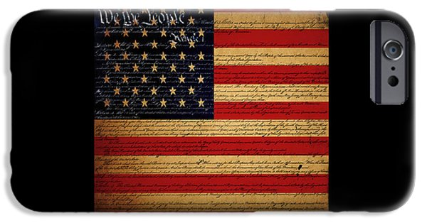 4th Of July iPhone Cases - We The People - The US Constitution with Flag - square black border iPhone Case by Wingsdomain Art and Photography