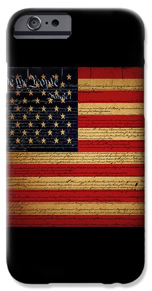 We The People - The US Constitution with Flag - square black border iPhone Case by Wingsdomain Art and Photography