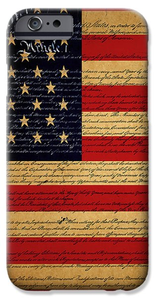 We The People - The US Constitution with Flag - square v2 iPhone Case by Wingsdomain Art and Photography
