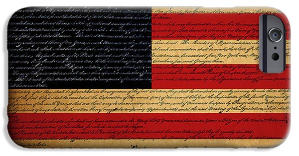July 4th Digital Art iPhone Cases - We The People - The US Constitution with Flag - square iPhone Case by Wingsdomain Art and Photography