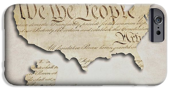 Constitution iPhone Cases - We The People - US Constitution Map iPhone Case by World Art Prints And Designs