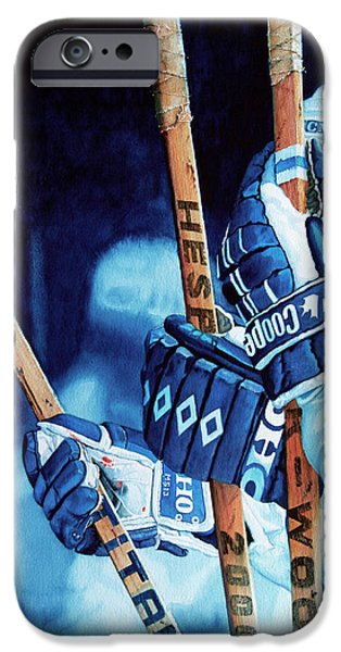 Hockey Paintings iPhone Cases - Weapons of Choice iPhone Case by Hanne Lore Koehler