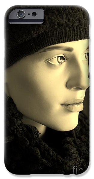 Artistic Portraiture iPhone Cases - Wearing Knit iPhone Case by Sophie Vigneault